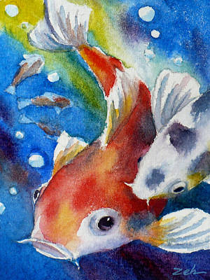 Painting - Gustave The Koi Fish by Janet  Zeh