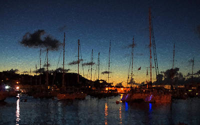 Digital Art - Gustavia St Barts Harbor Impressions by Georgia Mizuleva