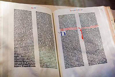 Bible Photograph - Gutenberg Bible by Jim West