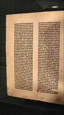 Photograph - Gutenberg Bible Leaf 5- 1450-55 by Glenn Bautista
