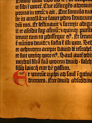 Photograph - Gutenberg Bible Leaf 5b - 1450-55 by Glenn Bautista