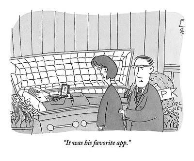 Ipad Drawing - Guy Is In Casket Holding An Ipad by Peter C. Vey