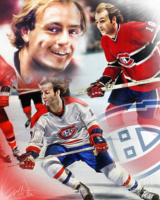 Montreal Canadiens Painting - Guy Lafleur Collage by Mike Oulton