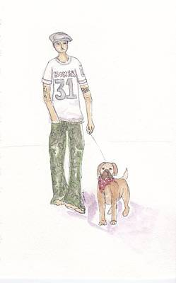 Boxer Puppy Mixed Media - Guy With Boxer Dog by Laura K Aiken