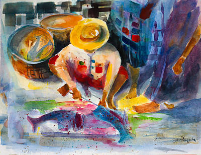 Indian Contemporary Artist Painting - Guyanese Fish Market by Joseph Giuffrida