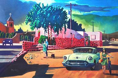 Art Print featuring the painting Guys Dolls And Pink Adobe by Art James West