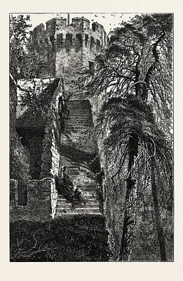 Guys Tower And The Walls Of Warwick Castle Print by English School