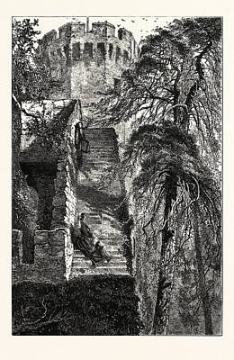 Guys Tower And The Walls Of Warwick Castle, Uk, Britain Print by English School