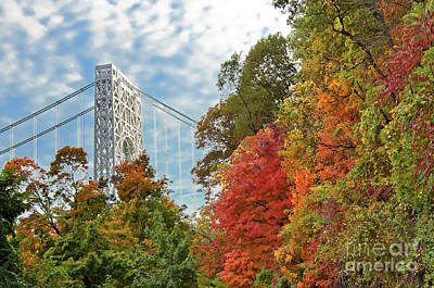 Politicians Royalty-Free and Rights-Managed Images - GW Bridge and NJ Palisades Autumn by Regina Geoghan