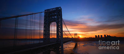 Politicians Royalty-Free and Rights-Managed Images - GW Bridge Silhouette  by Michael Ver Sprill