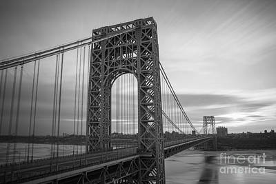 Politicians Royalty-Free and Rights-Managed Images - GW Bridge Winter Sunrise by Michael Ver Sprill