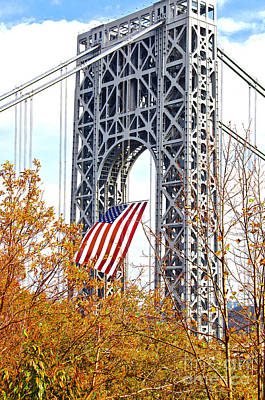 Politicians Royalty-Free and Rights-Managed Images - GWBridge-Flag for Veterans by Regina Geoghan