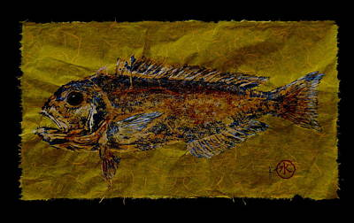 Gyotaku - Golden Tilefish - Clown Of The Sea - Blanquillo Original by Jeffrey Canha