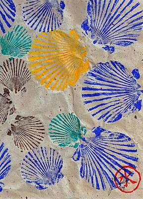 Blue Marlin Mixed Media - Gyotaku Scallops - Shellfish Apetite Sushi by Jeffrey Canha