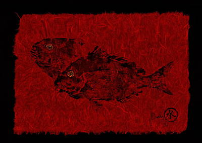 Gyotaku Scup Series 2  Red Unryu Paper Original by Jeffrey Canha