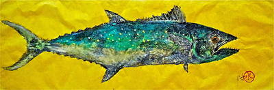 Blue Marlin Mixed Media - Gyotaku -spanish Mackerel - Bright Yellow by Jeffrey Canha