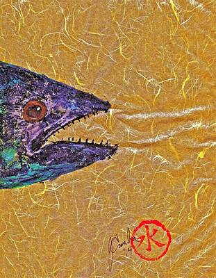 Blue Marlin Mixed Media - Gyotaku- Spanish Mackerel- Bright  Yellow Unryu Paper by Jeffrey Canha