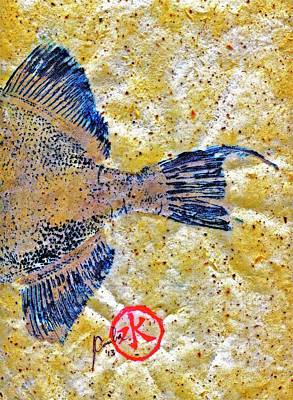 Blue Marlin Mixed Media - Gyotaku - Triggerfish - Oldwench -  Diptych 2  by Jeffrey Canha
