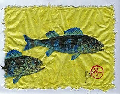 Gyotaku - Yellow Perch - Bluefish Original by Jeffrey Canha