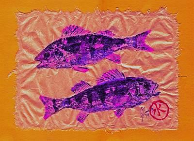 Gyotaku - Yellow Perch - Pink Fish Original by Jeffrey Canha