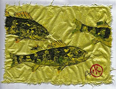 Gyotaku - Yellow Perch - Walleye Original by Jeffrey Canha