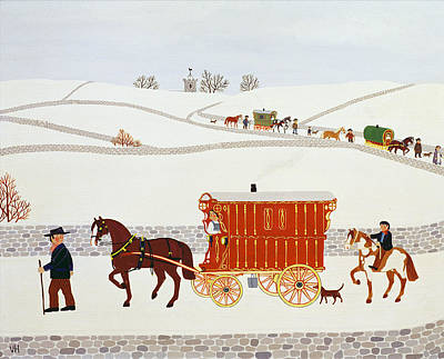 Christmas Greeting Painting - Gypsy Caravan by Vincent Haddelsey