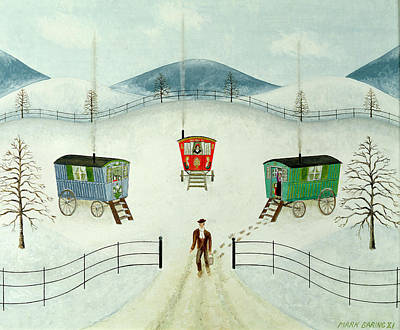 Winter Landscape Painting - Gypsy Caravans In The Snow by Mark Baring