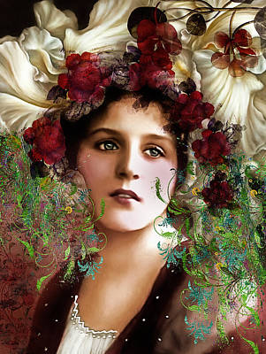 Seductive Mixed Media - Gypsy Girl Of Autumn Vintage by Georgiana Romanovna
