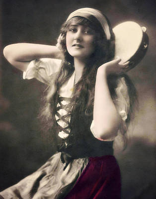 Photograph - Gypsy Girl With Tamborine by Lora Mercado