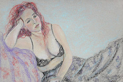 Pastel - Gypsy Spirit Woman Pondering by Asha Carolyn Young