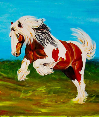 Tri Color Horse Painting - Gypsy Vanner Stallion by Sheri Marean