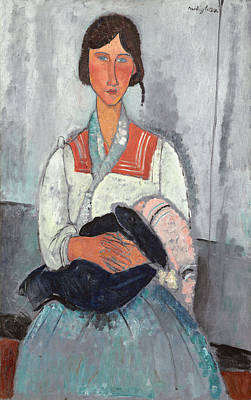 Breastfeeding Painting - Gypsy Woman With Baby by Amedeo Modigliani