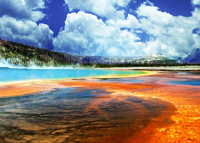 Geyser Pool Yellowstone Nps Art Print by Bob and Nadine Johnston