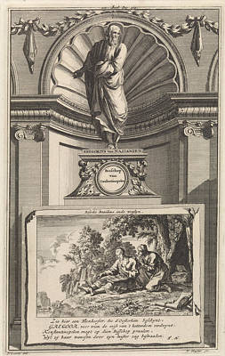 Choosing Drawing - H. Gregory Nazianzen The Younger, Church Father by Jan Luyken And Zacharias Chatelain Ii And Francois Halma