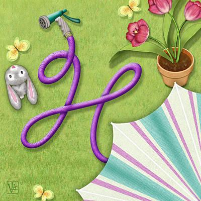 H Is For Garden Hose  Art Print by Valerie Drake Lesiak