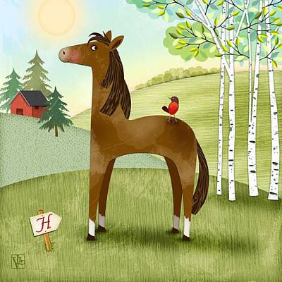 H Is For Henry The Horse Art Print by Valerie Drake Lesiak