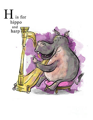 Harps Painting - H Is For Hippo by Sean Hagan