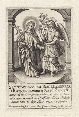 Guardian Drawing - H. Lidwina Of Schiedam, The Netherlands, Hieronymus Wierix by Hieronymus Wierix