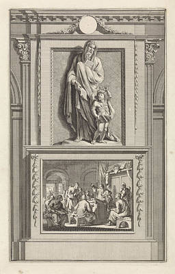 Dictate Drawing - H. Pantaenus Of Alexandria, Church Father by Jan Luyken And Zacharias Chatelain (ii) And Jan Goeree