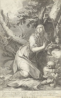 St Mary Magdalene Drawing - H Penitent Mary Magdalene by Willem Isaacsz. Van Swanenburg And Cornelis Gijsbertsz. Plemp And Jacques Razet