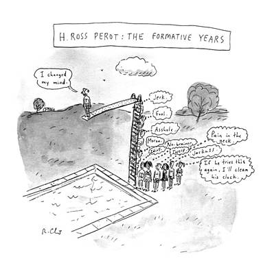 Diving Board Drawing - H. Ross Perot: The Formative Years by Roz Chast