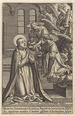 Saint Barbara Wall Art - Drawing - H. Stanislaus Kostka, Hieronymus Wierix by Hieronymus Wierix