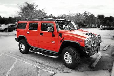 Red Hummer H2 Series  Art Print