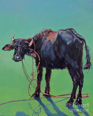 India Wildlife Painting - H2o Buffalo by Patricia A Griffin