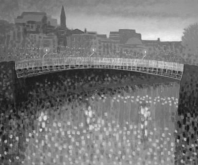 Ha Penny Bridge Dublin  Grey Scale Art Print by John  Nolan