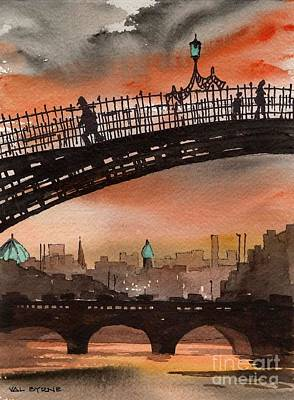 Architecture Painting - Ha Penny Bridge  Dublin 1 by Val Byrne