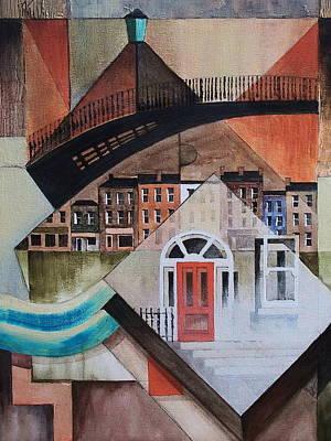 Painting - Ha Penny Bridge In Georgian Dublin by Val Byrne