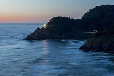 Photograph - Haceta Head Lighthouse At Dusk by Loree Johnson