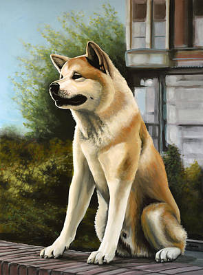 Adorable Painting - Hachi Painting by Paul Meijering