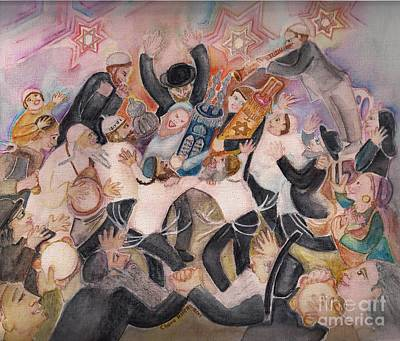 Painting - Hachnasat Sefer Torah 1 by Chana Helen Rosenberg